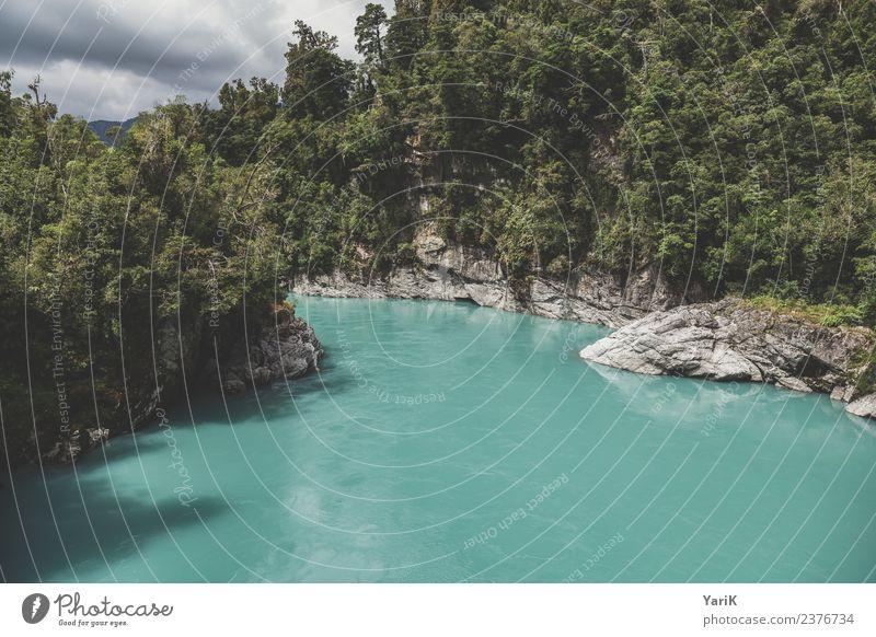 Hokitika Gorge Natur Ferien & Urlaub & Reisen Sommer Farbe grün Wasser Baum Ferne Wald Tourismus außergewöhnlich Freiheit Felsen Ausflug Freizeit & Hobby