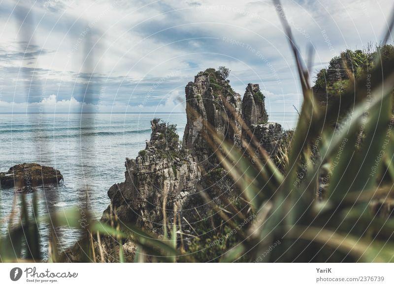 Pancake Rock Natur Ferien & Urlaub & Reisen Sommer Wasser Landschaft Meer Strand Ferne Küste Gras Tourismus Freiheit Stein Felsen Ausflug Wetter
