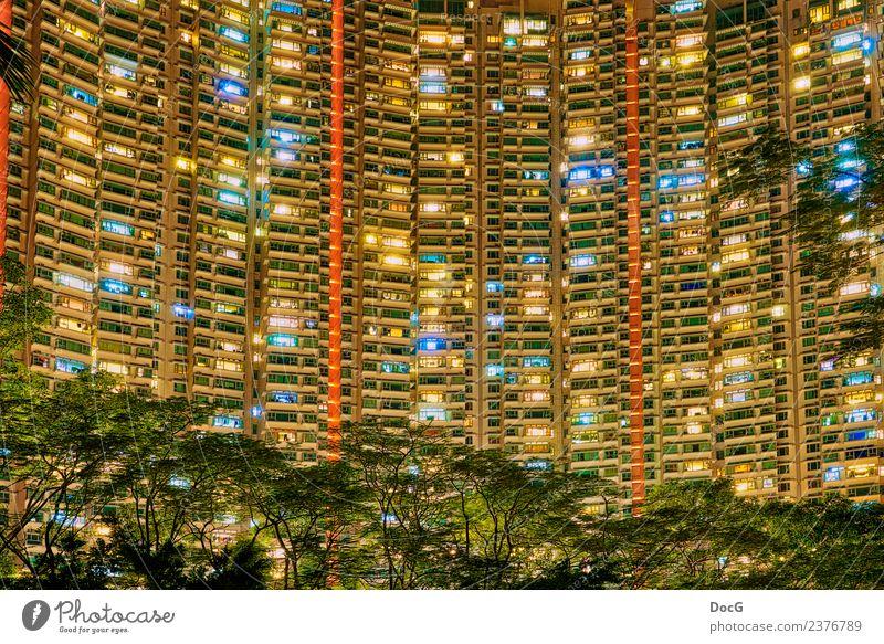 Hong Kong - Tung Chung - Tower Blocks Stil Design Leben Häusliches Leben Wohnung Haus Stadt überbevölkert Hochhaus Bauwerk Gebäude Architektur Fassade Balkon