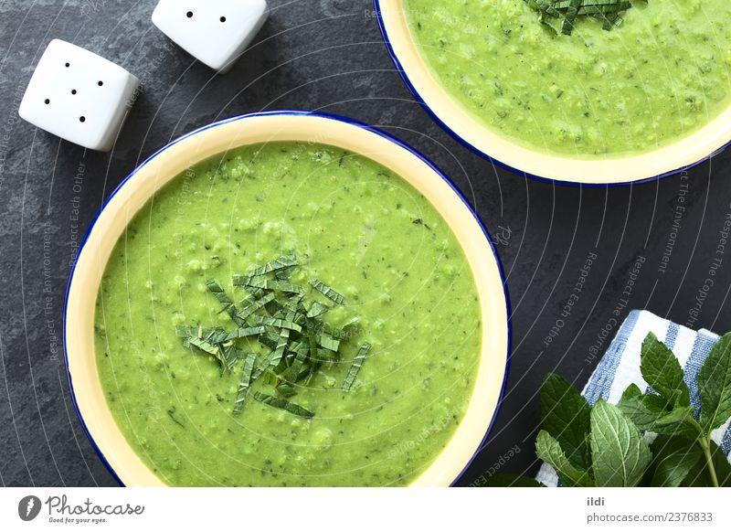 Speise frisch Kräuter & Gewürze Gemüse Erfrischung Mahlzeit horizontal Suppe Minze gebastelt Eintopf cremig