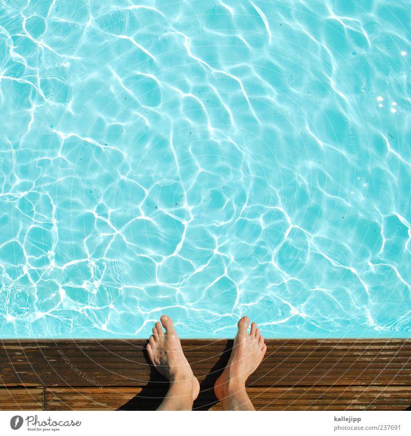 zehn zehen, die ins wasser gehen. Mensch Mann Wasser Sommer Freude Erwachsene Leben Sport springen Beine Fuß Freizeit & Hobby Schwimmen & Baden warten nass hoch