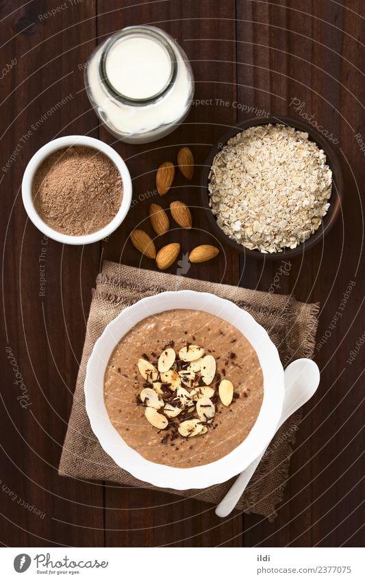 Schokoladen-Haferflocken oder Haferflockenbrei Milcherzeugnisse Dessert Ernährung Frühstück Gesundheit Lebensmittel Haferbrei Kakao melken Molkerei Pudding