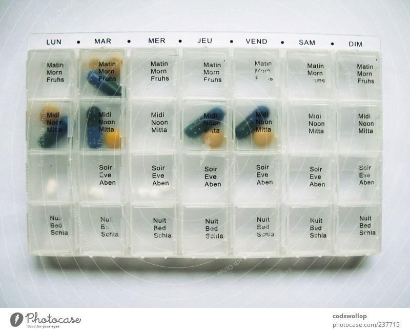 de lundi à dimanche Gesundheit Schriftzeichen Gesundheitswesen planen Kunststoff Zeichen eckig Sucht Verpackung Medikament Tablette Französisch regelmässig