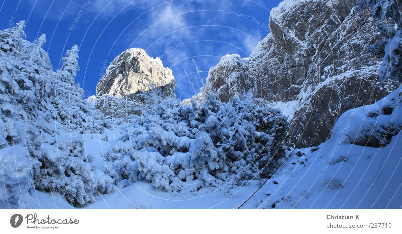 der Sonne entgegen Himmel Natur blau weiß Winter Landschaft kalt Schnee Berge u. Gebirge oben Stein Luft Eis Felsen Freizeit & Hobby gefährlich