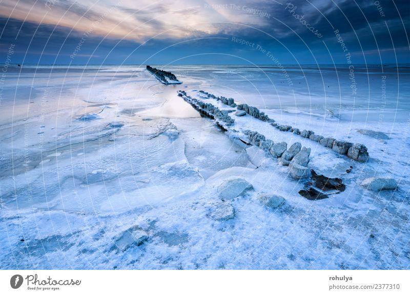 gefrorener Wellenbrecher in Eis auf dem Ijsselmeer, Niederlande Ferien & Urlaub & Reisen Meer Winter Natur Landschaft Himmel Wolken Horizont Wetter Wind Frost