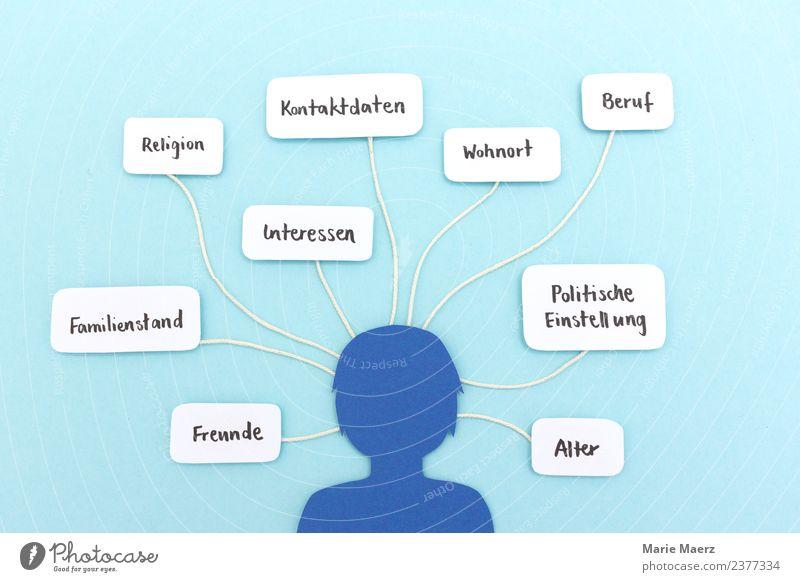 Persönliche Daten in Sozialen Netzwerken Lifestyle PDA Telekommunikation Internet feminin Kopf 1 Mensch entdecken Kommunizieren nerdig Neugier blau Laster