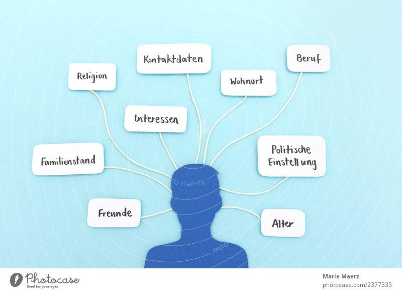 Persönliche Daten preisgeben im sozialen Netzwerk Internet Mensch Mann Erwachsene Kopf 1 sprechen Kommunizieren Neugier blau Laster gefährlich Macht Wissen