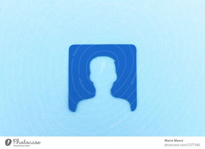 Lösch dein Social Media Nutzer Profil Lifestyle PDA Telekommunikation Internet maskulin Kopf 1 Mensch Kommunizieren machen nerdig blau Macht Mut Vertrauen