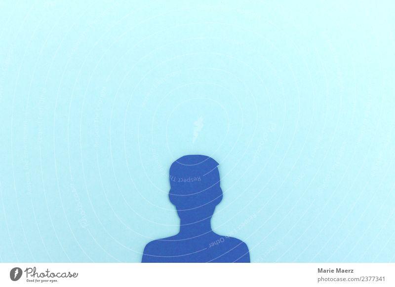 Social Media Nutzer Profil vor blauem Hintergrund Internet Mensch Mann Erwachsene 1 Kommunizieren modern Neugier Freiheit Freizeit & Hobby Netzwerk Medien