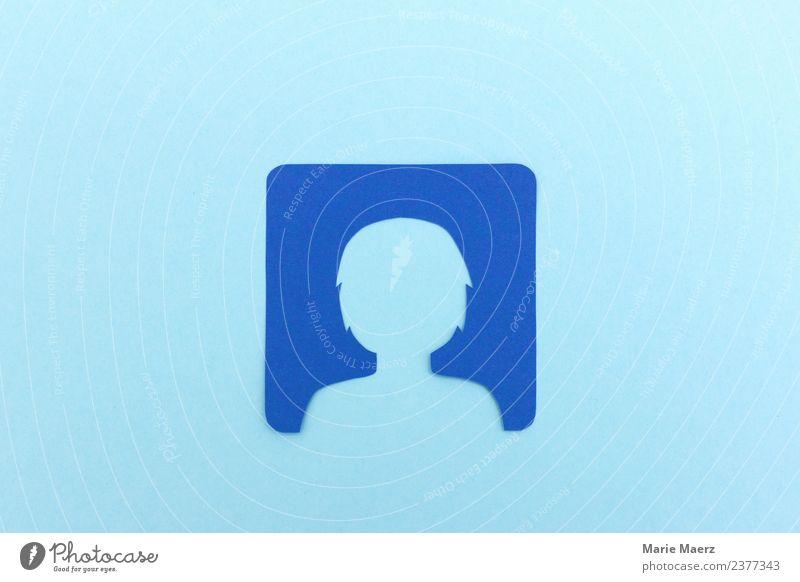 Profil löschen im sozialen Netzwerk Mensch Frau Erwachsene Kopf 1 Kommunizieren frei modern blau Macht Mut gefährlich Kontrolle Sicherheit Vertrauen