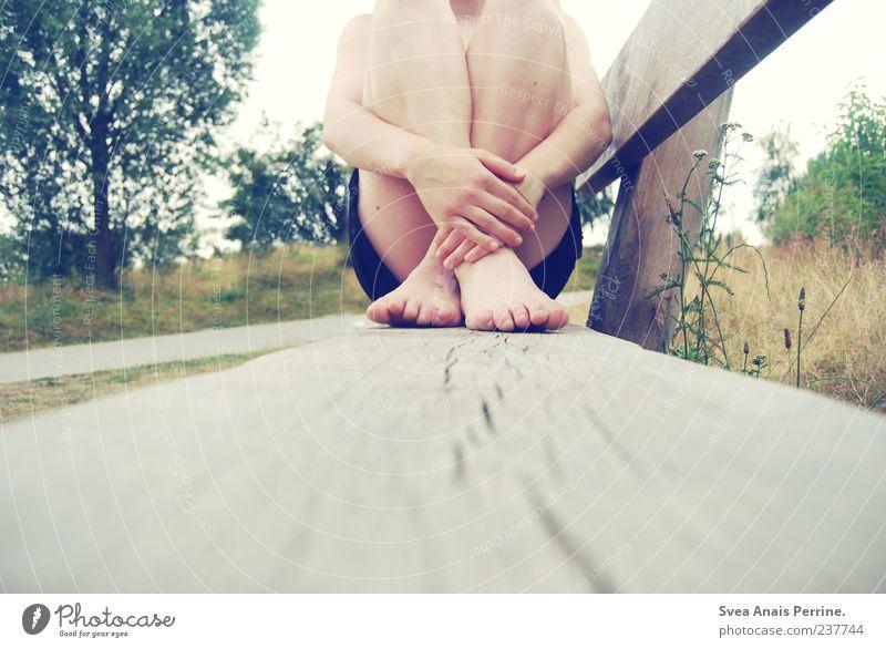 einsam. Haut Arme Hand Finger Beine Fuß 1 Mensch Bank sitzen einzigartig natürlich ducken Baum Wiese Farbfoto Außenaufnahme hocken feminin kreuzen Holzbank