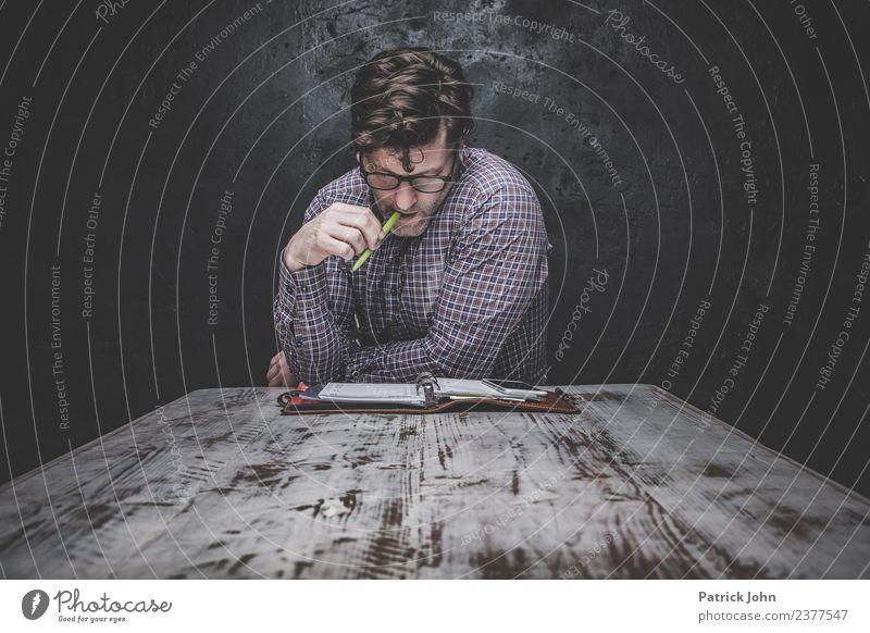 Hm...!? Lehrer Arbeit & Erwerbstätigkeit Business Karriere Arbeitslosigkeit Mensch maskulin Mann Erwachsene 1 30-45 Jahre Brille Scheitel schreiben