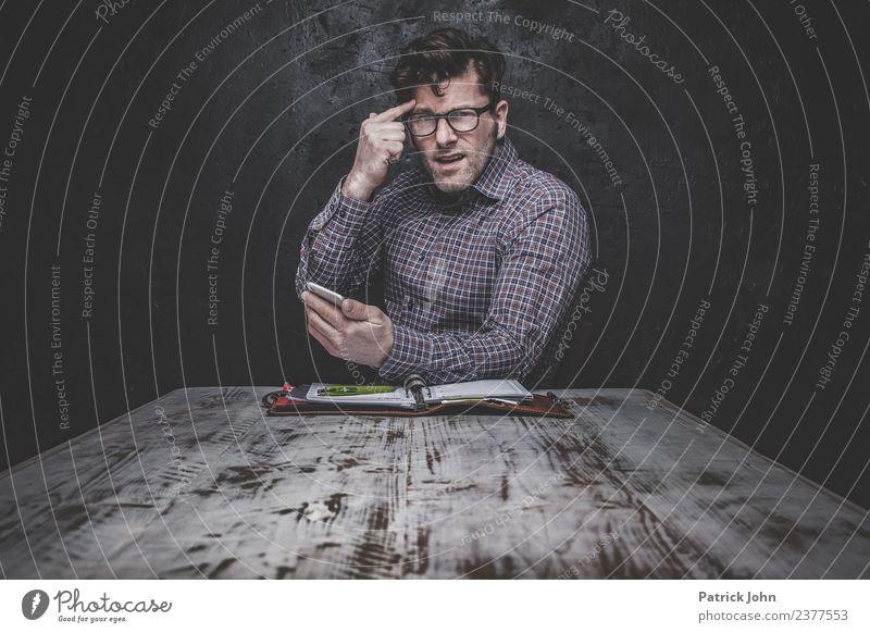 Geht's noch? Arbeitslosigkeit maskulin Mann Erwachsene 1 Mensch 30-45 Jahre Brille Scheitel Dreitagebart Gefühle Enttäuschung Platzangst Zukunftsangst Stress