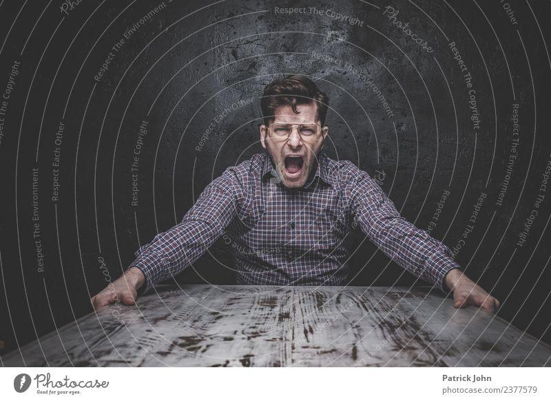 Raus damit! Mensch Mann Erwachsene Gefühle Stimmung Büro maskulin Zukunftsangst Wut Stress Karriere Arbeitsplatz Verzweiflung schreien Aggression Feierabend