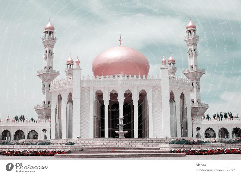 Islamische Moschee Tourismus Sommer Kultur Landschaft Himmel Kirche Platz Turm Gebäude Architektur Dach Wahrzeichen Denkmal historisch blau gold grau weiß