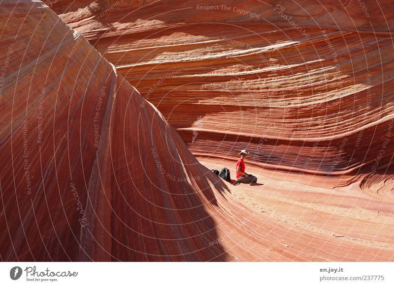 wonder of nature Mensch Frau Natur Ferien & Urlaub & Reisen Erwachsene außergewöhnlich Felsen orange sitzen Lebensfreude Wandel & Veränderung einzigartig Abenteuer USA Wüste Fernweh
