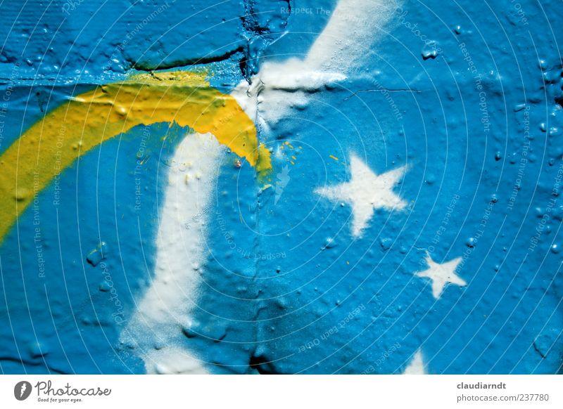 Milchstraße Kunst Mauer Wand blau mehrfarbig gelb Stern (Symbol) Graffiti sprühen Tagger Farbstoff himmelblau Himmelszelt Betonwand Sternenhimmel Farbfoto