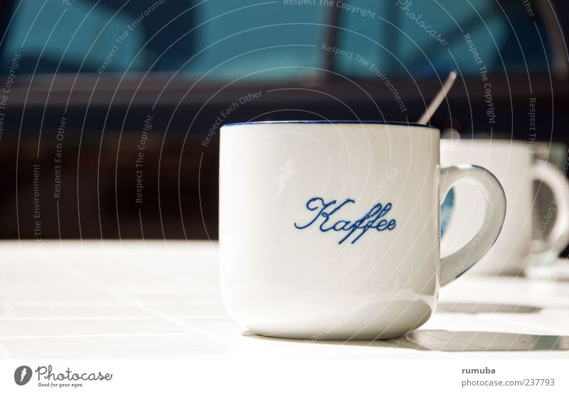 Kaffee-Pause weiß ruhig Erholung Schriftzeichen Getränk trinken Tee genießen Tasse Durst Becher Kakao Kaffeetasse Tragegriff