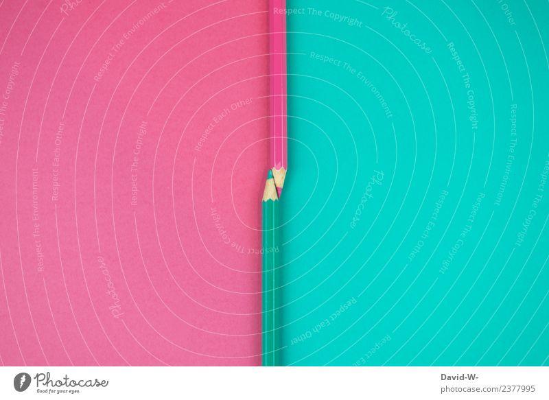 zwei Seiten Bildung Erwachsenenbildung Kindergarten Schule lernen Klassenraum Studium Kunst Künstler Maler elegant Schreibstift Farbstift blau rosa türkis Farbe