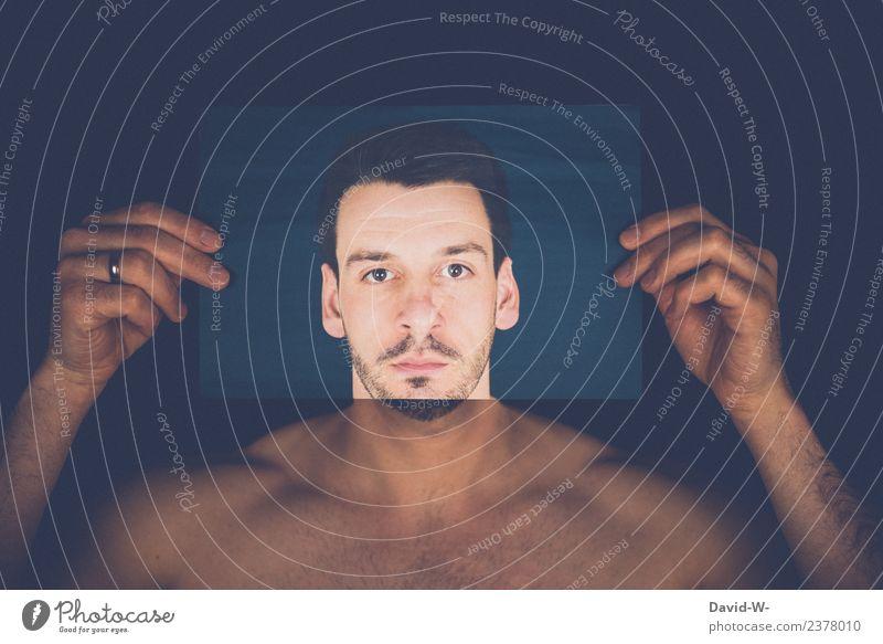 Illusion | Mann verdeckt sein Gesicht Kopf täuschung Mensch Surrealismus Maske Foto verstecken psyche emotionslos Emotionen Leere