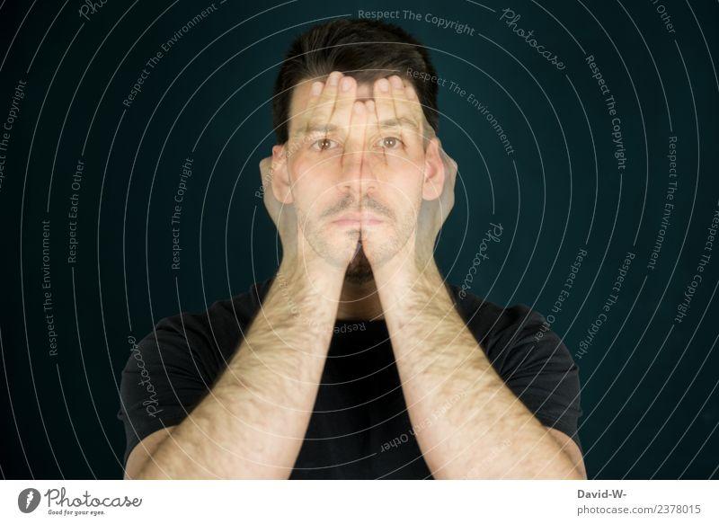 verschlossen Mensch Jugendliche Mann Junger Mann Hand Gesicht Erwachsene Leben Gefühle Business Kunst Kopf Design Angst maskulin Körper