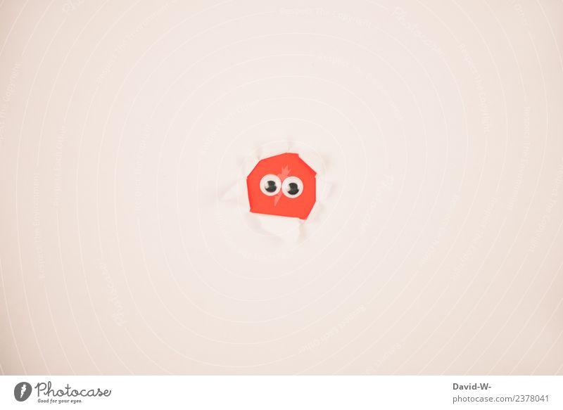 I see you Lifestyle Stil Leben 1 Mensch Kunst beobachten Kommunizieren Blick verstecken Versteck spionieren Spitzel niedlich Monster Figur Papier kulleräugig