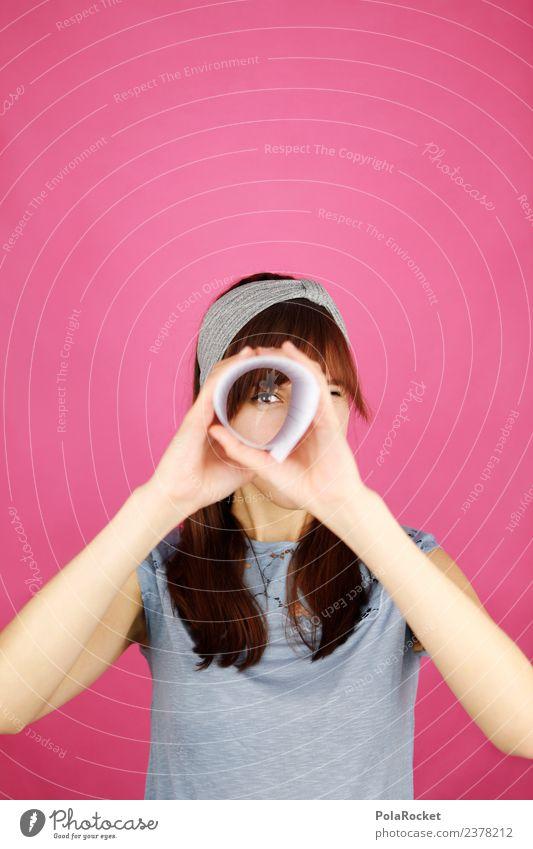 #A# Durchblick Medien ästhetisch Design entdecken Hoffnung innovativ Kindheit Kontakt Wunsch Ziel Suche Sucher fokussieren Brennpunkt rosa Teleskop Gesicht