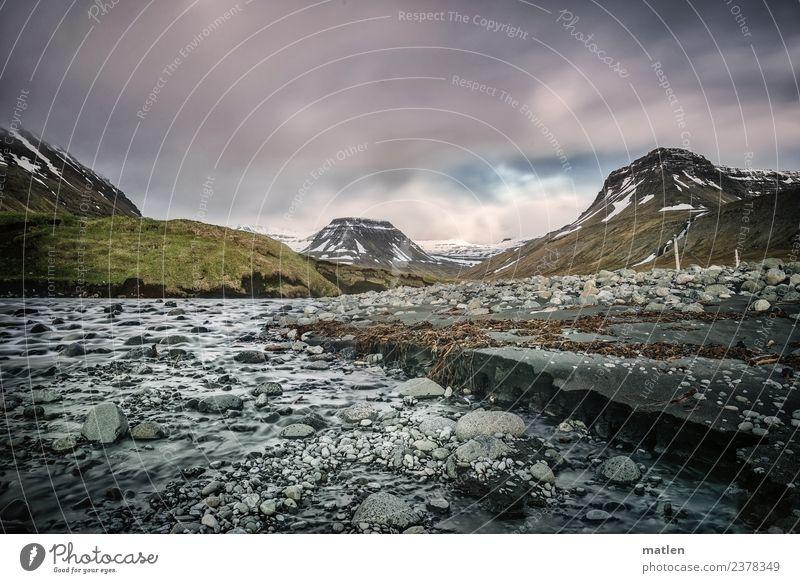 Flußmündung Himmel blau Pflanze grün Wasser Landschaft weiß Wolken Strand Berge u. Gebirge Frühling Wiese Küste Schnee Gras grau