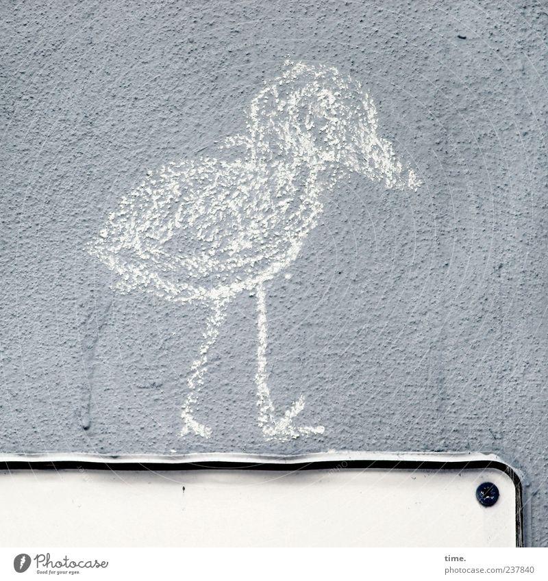 Shit Happens! Tier Wand grau Kunst Vogel gehen Fassade dreckig Schilder & Markierungen wandern Grafik u. Illustration Gelassenheit Putz Am Rand Kreide Hinweis