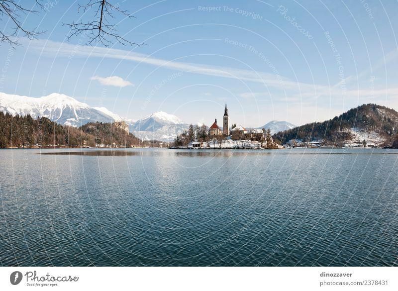 Bleder See, Slowenien schön Ferien & Urlaub & Reisen Tourismus Insel Winter Schnee Berge u. Gebirge Natur Landschaft Himmel Baum Park Wald Hügel Felsen Alpen