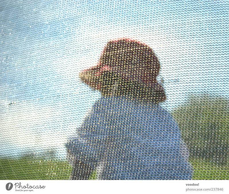 Mosaik des Lebens Kind Mädchen Kindheit 1 Mensch 3-8 Jahre Gemälde Natur Landschaft Himmel Sonnenlicht Hemd Hut springen blau grau grün weiß Geborgenheit