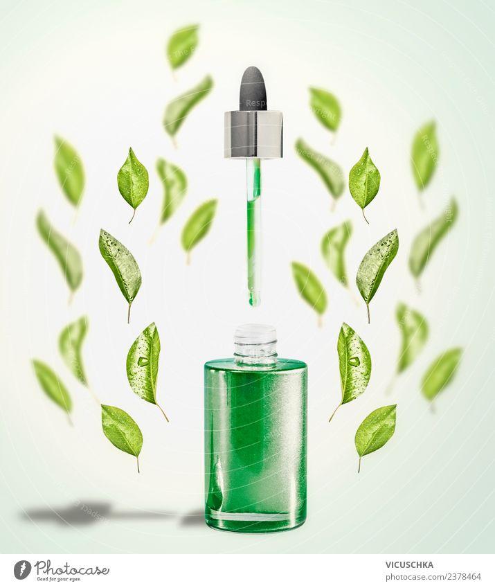 Grünes Gesichtsserum mit Pipette und grünen Blättern Natur schön Blatt Gesundheit Hintergrundbild Stil Design modern kaufen Wellness Kosmetik Flasche Spa Serum