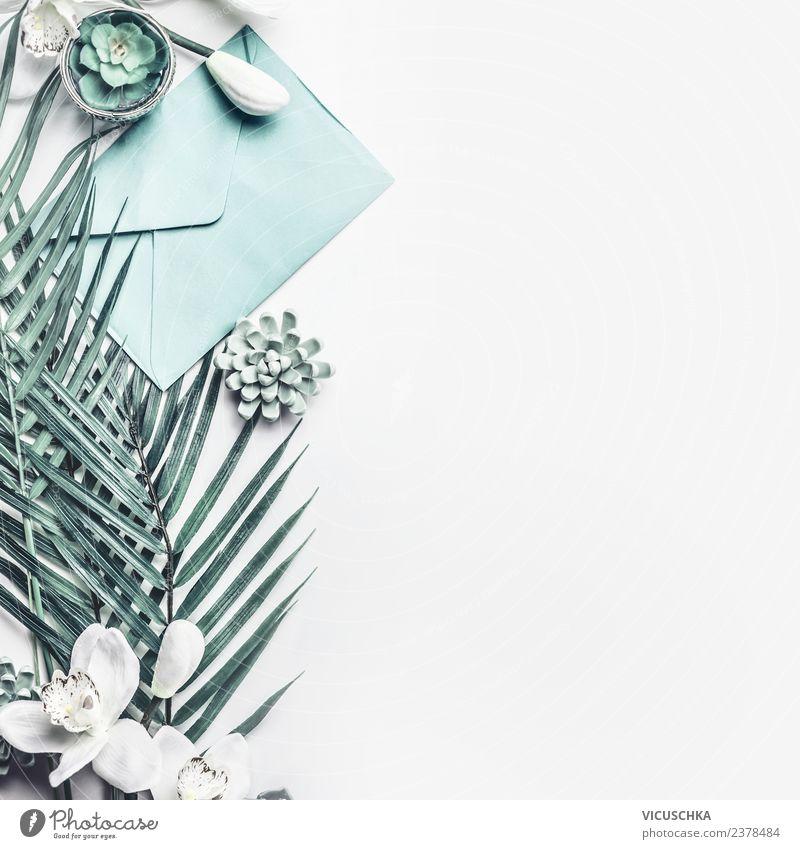Tropische Blätter mit Orchideen Blumen und Umschlag Stil Design schön Dekoration & Verzierung Feste & Feiern Muttertag Hochzeit Geburtstag Büro Business Natur