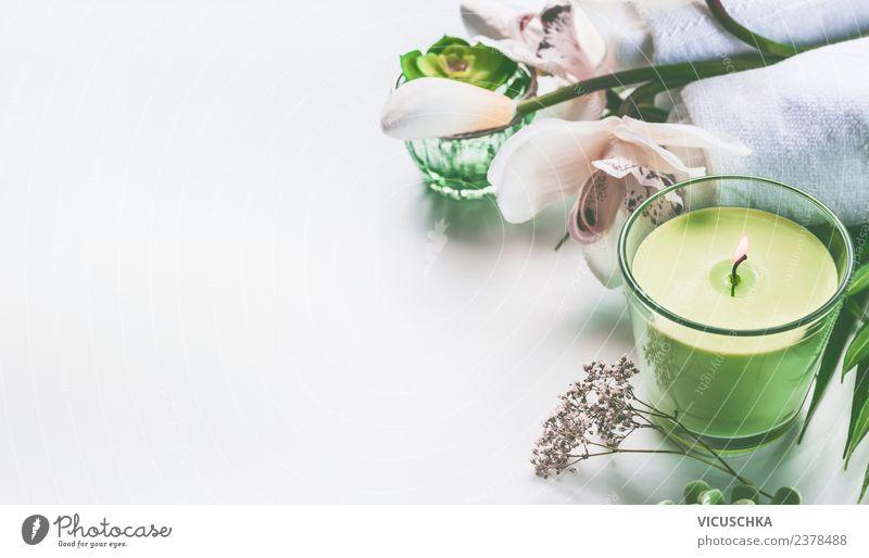 Grüne Kerze , Blumen und Spa Zubehör Natur Ferien & Urlaub & Reisen Sommer schön grün Erholung gelb Gesundheit Hintergrundbild Stil Design Wellness Wohlgefühl
