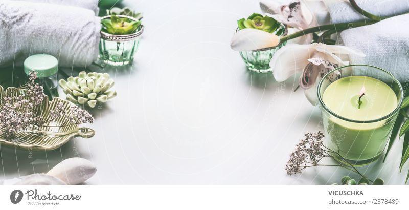 Grüner Spa und Wellness Hintergrund Stil Design schön Kosmetik Gesundheit Sinnesorgane Erholung Massage Ferien & Urlaub & Reisen Sommer Natur Blume Orchidee