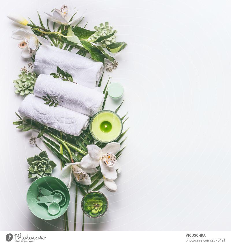 Güne Spa und Wellness Composing auf weiß Natur schön grün Erholung Gesundheit Hintergrundbild Stil Design Dekoration & Verzierung modern Kerze Beautyfotografie
