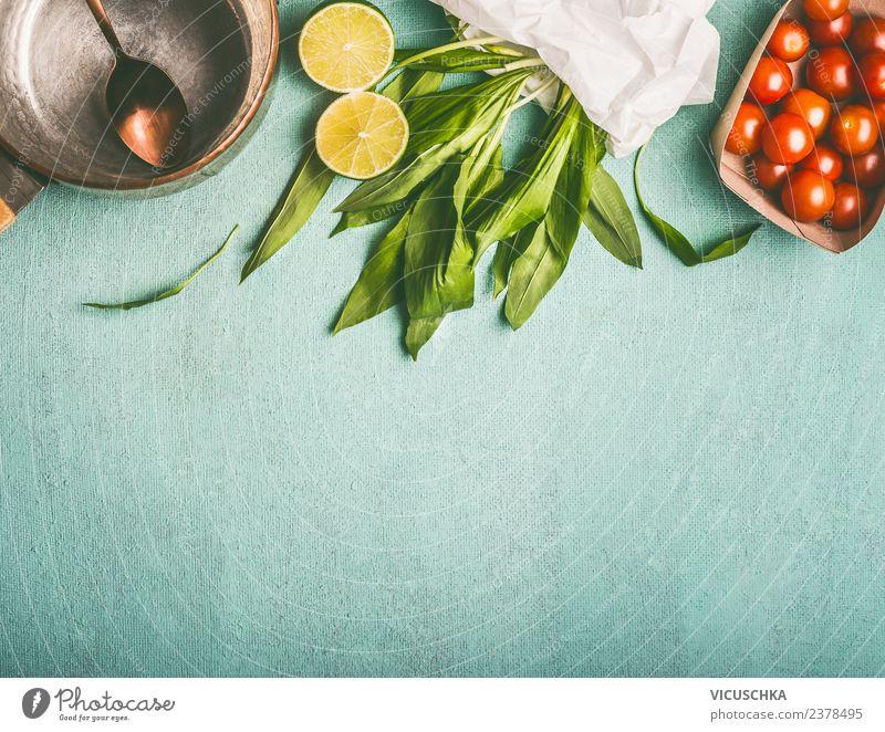 Bärlauch mit Zutaten , Lebensmittel Hintergrund Kräuter & Gewürze Ernährung Bioprodukte Vegetarische Ernährung Diät Geschirr Topf Stil Design Gesundheit