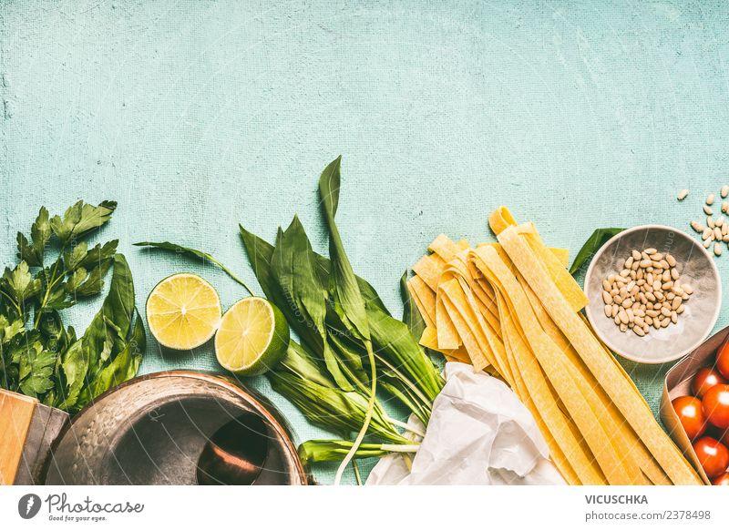 Bärlauch Nudeln Kochzutaten Lebensmittel Gemüse Kräuter & Gewürze Ernährung Mittagessen Bioprodukte Vegetarische Ernährung Diät Geschirr Topf Stil Design