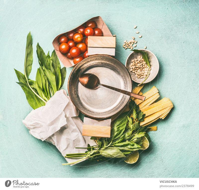 Bärlauch Nudeln Zutaten Lebensmittel Gemüse Kräuter & Gewürze Ernährung Mittagessen Abendessen Bioprodukte Vegetarische Ernährung Diät Topf Löffel Stil Design