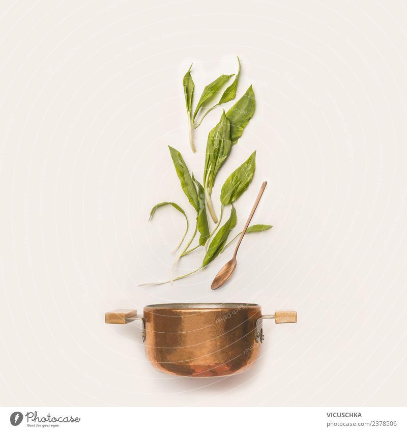 Bärlauch mit Topf und Kochlöffel Gesunde Ernährung Speise Frühling Stil Lebensmittel Design Kräuter & Gewürze Gemüse Bioprodukte Restaurant Essen zubereiten