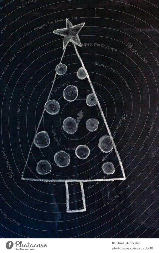 Tafelzeichnung | Weihnachtsbaum Weihnachten & Advent Baum schwarz weiß geschmückt Stern Kugel einfach gemalt Kreativität Kreide Zeichnung Idee Farbfoto