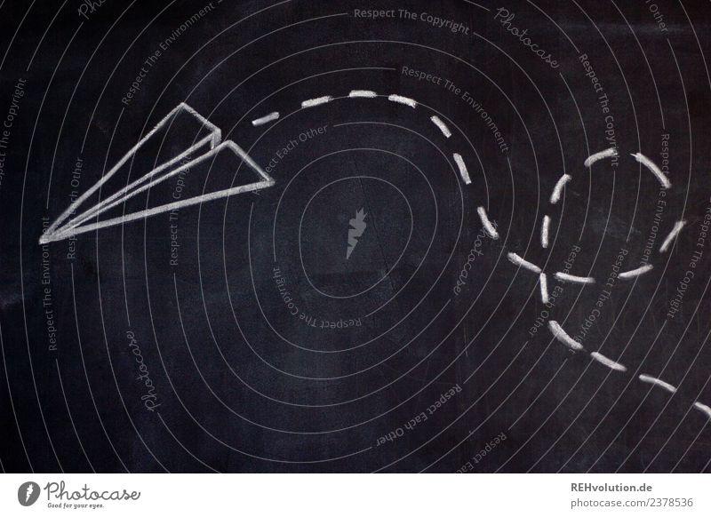 Tafelzeichnung   Papierflieger Luftverkehr Flugzeug Fluggerät fliegen außergewöhnlich schwarz Abenteuer Beginn Freiheit Kreativität gefaltet gemalt