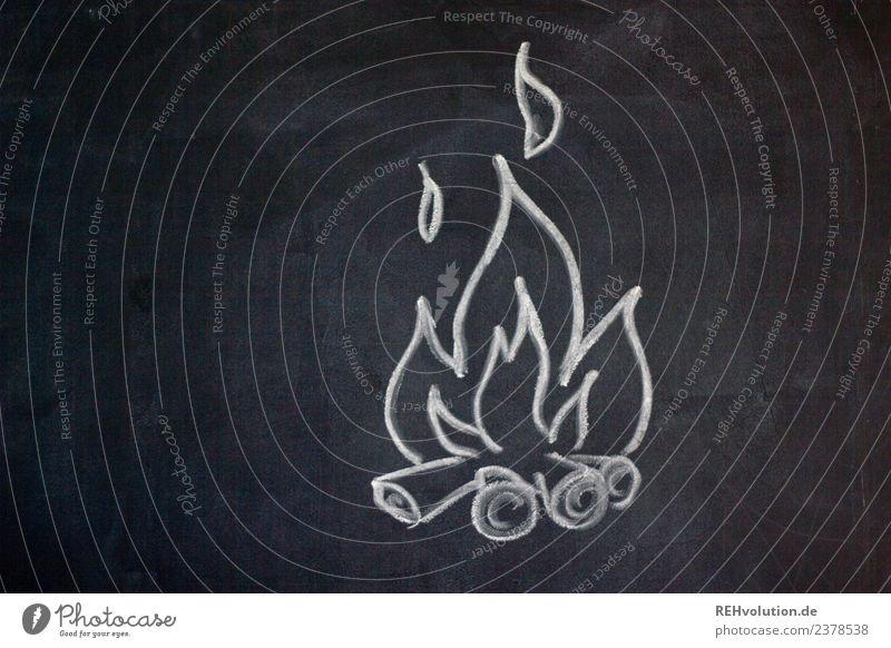 Tafelzeichnung | Lagerfeuer Holz Feuer Grafik u. Illustration heiß gemalt Leidenschaft Zeichnung brennen Flamme Kreide Feuerstelle