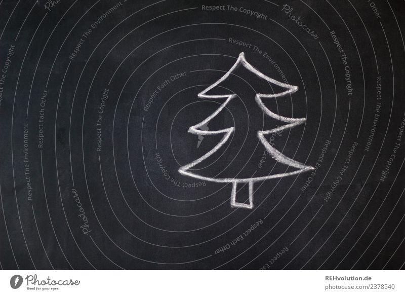 Tafelzeichnung | Tanne Feste & Feiern Weihnachten & Advent Baum außergewöhnlich einzigartig schwarz weiß Weihnachtsbaum Zeichnung Kreide einfach gemalt