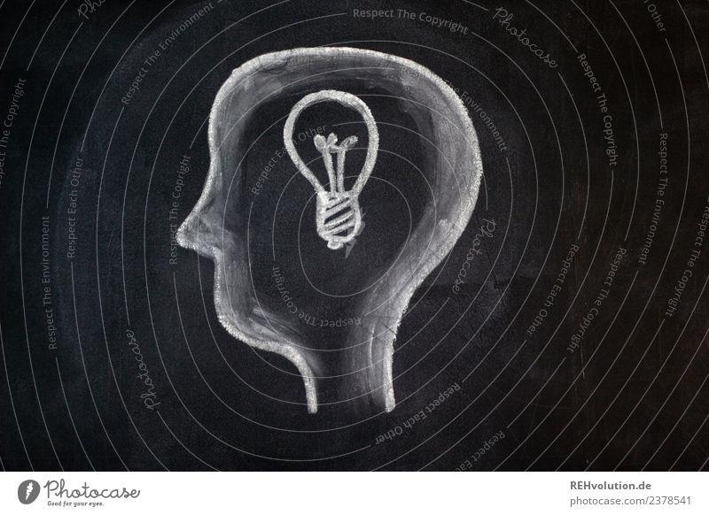 Tafelzeichnung | Idee Mensch Kopf 1 Kunst Glühbirne Denken außergewöhnlich Zeichnung Kreide Philosoph Grafik u. Illustration gemalt schwarz weiß planen Plan