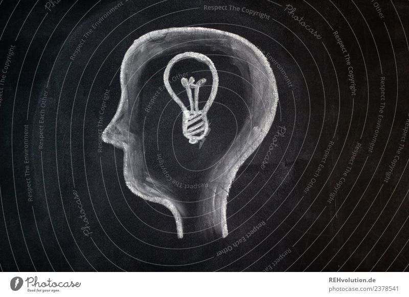 Tafelzeichnung | Idee Mensch weiß schwarz Kunst außergewöhnlich Kopf Denken Grafik u. Illustration planen gemalt Glühbirne Zeichnung Kreide Plan