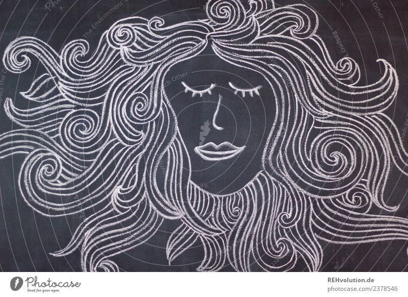 Tafelzeichnung | Frisur Mensch weiß Erholung ruhig schwarz Gesicht Gefühle feminin außergewöhnlich Haare & Frisuren Kopf träumen genießen Grafik u. Illustration