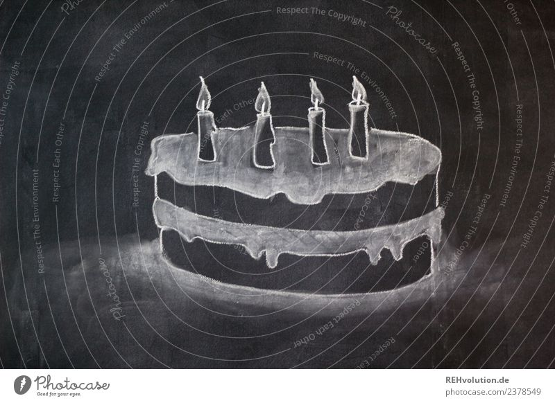 Tafelzeichnung | Geburtstagskuchen Kind Freude Lifestyle Stil Glück Kunst außergewöhnlich Feste & Feiern Design Kindheit Kreativität Idee Grafik u. Illustration