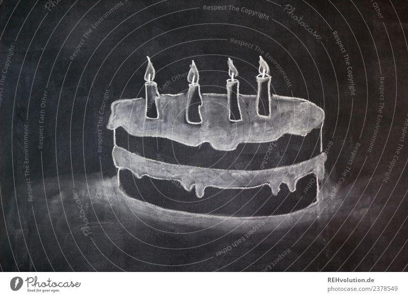 Tafelzeichnung   Geburtstagskuchen Lifestyle Stil Design Feste & Feiern 3-8 Jahre Kind Kindheit außergewöhnlich Glück Geburtstagstorte Kuchen Kerze 4 Kreide