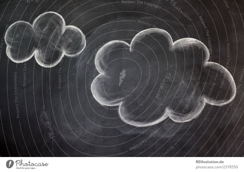 Tafelzeichnung   Wolken schwarz weiß Idee Inspiration Kreativität gemalt Kreide Gedanke Denken Farbfoto Innenaufnahme Textfreiraum links Textfreiraum unten Tag